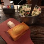 salad and cornbread on the tables when you arrive