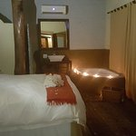 Honeymoon Suite, Anniversary & Romantic Hide away. Book the Mosaic Pebble or Forest Tree Room