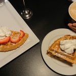 Chai Latte, Half order of waffles with fruit and stuffed waffles