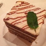 This is the enormous delicious carrot cake they serve at Eddie Merlot's
