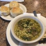 Soup with garlic knots