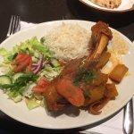 Lamb, rice and salad