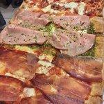 mezzo metro: salamino e salsiccia, bianca con mortadella e crema di pistacchi, speck