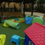 Play area beside baby pool