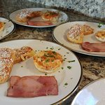 French Toast Amandine, Brunch Eggs and Peppered Ham from Opa's Smokehouse
