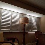 Light coming in from shutters at night / popcorn ceiling