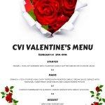 CVI Valentine's Menu! . Wednesday, February 14 5pm-9pm