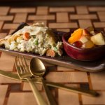 Our scrumptious best-seller, Chicken Pot Pie, paired with a fresh cup of fruit.