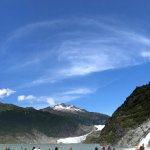 Nugget Falls in front, with Mendenhall Glacier in back