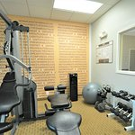 Free weights in the exercise room.
