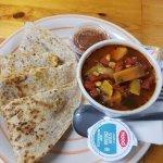 Chicken Quesadilla & Sweet Potato Veggie Soup
