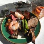 Mixed Plate of Shrimp, Smoked Salmon, and Lamb Chops