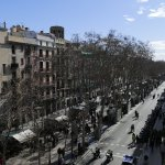View from Room, looking down Las Ramblas