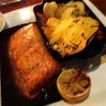 Planked Salmon with vegetables