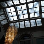 The beautiful glass ceiling in the reception area