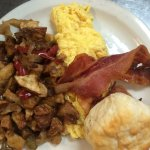 Sunflower Cafe Breakfast Club Special - 2 eggs, potatoes or girts, bacon or sausage, & biscuit