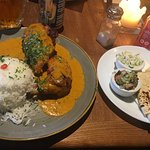 Roast chicken with coconut curry sauce