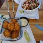 Mahi Mahi bites, Octopus salad.