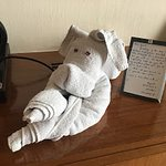 Towel art with personal note from housekeeping associates.