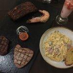 Steak Platter #1 and Carbonara
