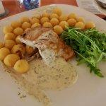 salmon with potato croquettes