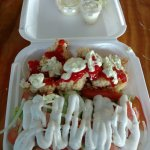 Island Crack Conch with Salad covered in Tartar Sauce and Ketchup !