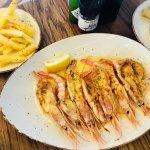 Greek salad, cheese croquettes, fried calamari, gyro and prawns