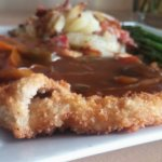 Zigeuner schnitzel with asparagus and pan fried potatoes.