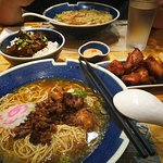 (Up Front) Signature Happiness Ramen, Chicken Karaage, Happiness Rice Bowl and Pork Belly Ramen