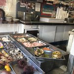 InsideThe seafood bar the servers work from.the