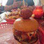 river pheoonix burger with a mac ball