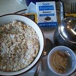 Oatmeal with raisins, honey, brown sugar & milk