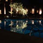 The ITC Rajputana pool at night.