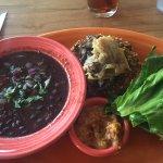 East African Veggie Burger with Nicaraguan Black Bean Soup