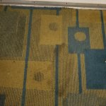 Stained carpet throughout room.