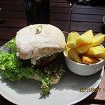 Venison burger and fries
