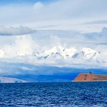 Snow Capped Andes in the background & Isla de la Luna in the foreground