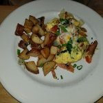 Salmon Scramble with red potatoes, cheese, spinach & fluffy eggs