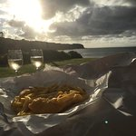 Fish and chips and a cheeky Sauvignon Blanc whilst viewing the sunset.