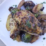 Roasted Jidori Chicken w/Brussels Sprouts and Fingerling Potatoes