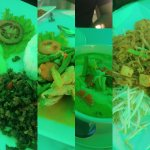Some of the dishes (green tint because we sat under a green umbrella)