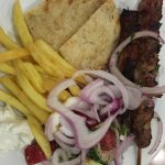 Outdoor BBQ kebabs at dinner