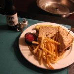 turkey BLT with fries and a beer room service