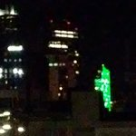 The VIEW: 10th Floor of Hampton Inn everything was Illuminating EAGLES GREEN!  I loved the view.