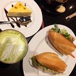bahn mi, matcha latte and passion fruit cheesecake