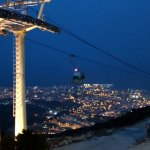 Cable car by night.
