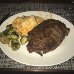 Steak, brussel sprouts, and potatoes