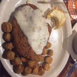 Chicken fried chicken and Okra