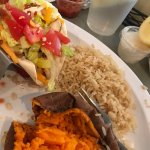 Fish Tacos with rice and sweet potato!