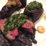 Yellowfoot mushrooms and peas, barramundi, blood sausage and steak, pear sauterne sorbet